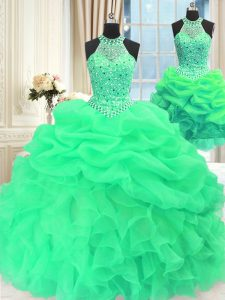 Three Piece Floor Length Lace Up Quinceanera Gowns Green for Military Ball and Sweet 16 and Quinceanera with Beading and Pick Ups