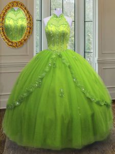 Free and Easy Yellow Green Ball Gowns High-neck Sleeveless Tulle Floor Length Lace Up Beading and Appliques Quinceanera Gown
