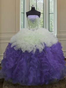Glamorous Organza Strapless Sleeveless Lace Up Beading and Ruffles Vestidos de Quinceanera in White And Purple