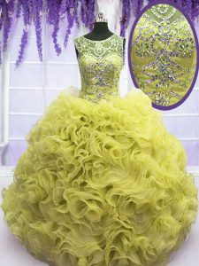 Ball Gowns Vestidos de Quinceanera Yellow Scoop Organza Sleeveless Floor Length Lace Up