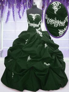 Comfortable Taffeta Strapless Sleeveless Lace Up Appliques and Pick Ups Quinceanera Gown in Dark Green and Peacock Green