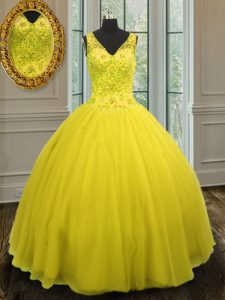 Unique Ball Gowns Sweet 16 Dress Yellow V-neck Tulle Sleeveless Floor Length Zipper