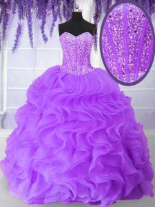 Purple Organza Lace Up Sweetheart Sleeveless Floor Length 15th Birthday Dress Beading and Ruffles
