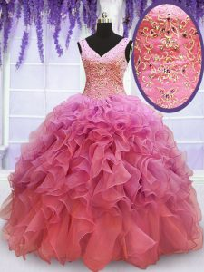 High Class Pink Organza Lace Up V-neck Sleeveless Floor Length Quinceanera Gowns Beading and Embroidery and Ruffles