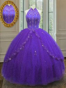 New Arrival Purple Ball Gowns Beading and Appliques Ball Gown Prom Dress Lace Up Tulle Sleeveless Floor Length