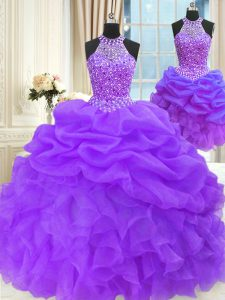 Three Piece Pick Ups Eggplant Purple Sleeveless Organza Lace Up Sweet 16 Dresses for Military Ball and Sweet 16 and Quinceanera