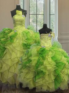 Ideal Multi-color Ball Gowns Organza Strapless Sleeveless Beading and Ruffles Floor Length Lace Up Sweet 16 Dress