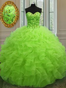 Extravagant Sweetheart Sleeveless Lace Up Vestidos de Quinceanera Yellow Green Organza