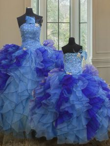 Colorful Multi-color Ball Gowns Beading and Ruffles Quinceanera Dress Lace Up Organza Sleeveless Floor Length