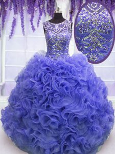 Pretty Scoop Beading and Ruffles 15th Birthday Dress Purple Lace Up Sleeveless Floor Length