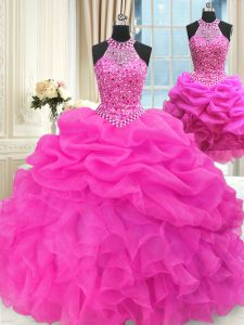 Fitting Three Piece Hot Pink High-neck Neckline Beading and Pick Ups Sweet 16 Quinceanera Dress Sleeveless Lace Up