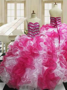 Decent Sleeveless Lace Up Floor Length Beading and Ruffles Quinceanera Dress