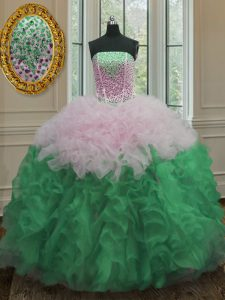 Graceful Multi-color Ball Gowns Beading and Ruffles Sweet 16 Dresses Lace Up Organza Sleeveless Floor Length
