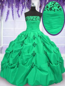 Taffeta Lace Up Ball Gown Prom Dress Sleeveless Floor Length Embroidery and Pick Ups
