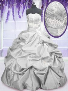 Hot Selling Strapless Sleeveless Sweet 16 Dress Floor Length Embroidery and Pick Ups Silver Taffeta
