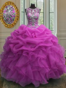 Custom Designed Scoop Sleeveless Beading and Ruffles and Pick Ups Lace Up Quinceanera Dress