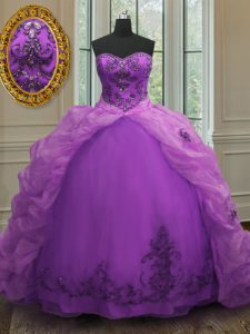 Purple Organza Lace Up 15th Birthday Dress Sleeveless With Train Court Train Beading and Appliques and Pick Ups