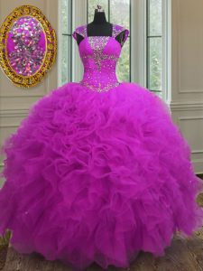 Sequins Floor Length Fuchsia Sweet 16 Dresses Straps Sleeveless Lace Up