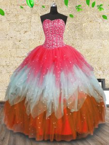 Multi-color Lace Up Sweetheart Beading and Ruffles and Ruffled Layers Quinceanera Gowns Tulle Sleeveless