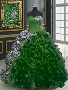 Dark Green Ball Gowns Beading and Ruffles and Pattern Quince Ball Gowns Lace Up Organza and Printed Sleeveless With Train
