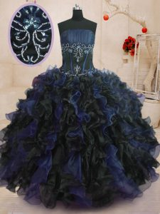 High Quality Floor Length Blue And Black Quince Ball Gowns Strapless Sleeveless Lace Up