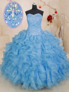 Best Selling Ball Gowns Sweet 16 Dresses Blue Sweetheart Organza Sleeveless Floor Length Lace Up