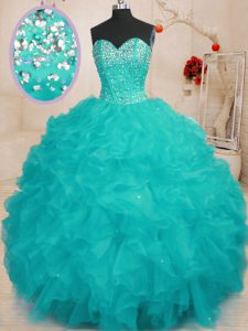 Comfortable Sleeveless Floor Length Beading and Ruffles Lace Up 15 Quinceanera Dress with Aqua Blue