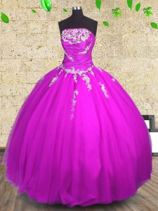 Sleeveless Appliques and Ruching Lace Up 15 Quinceanera Dress