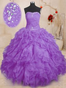 Floor Length Lavender Womens Party Dresses Organza Sleeveless Beading and Ruffles and Ruching