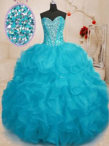 Pretty Aqua Blue Sweetheart Lace Up Beading Ball Gown Prom Dress Sleeveless