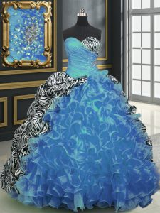 Fine Sleeveless Organza and Printed With Brush Train Lace Up Quinceanera Gown in Baby Blue with Beading and Ruffles and Pattern
