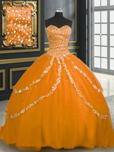 Luxurious Orange Sweetheart Neckline Beading and Appliques Sweet 16 Quinceanera Dress Sleeveless Lace Up