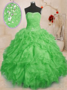 Pretty Floor Length Sweet 16 Quinceanera Dress Organza Sleeveless Beading and Ruffles and Ruching