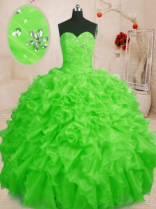 Quinceanera Gown Military Ball and Sweet 16 with Beading and Ruffles Sweetheart Sleeveless Lace Up