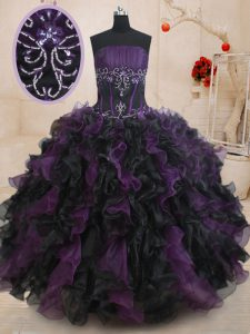 Discount Sleeveless Floor Length Beading and Ruffles Lace Up Quinceanera Gowns with Black And Purple