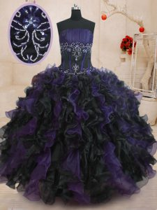Nice Black And Purple Sleeveless Beading and Ruffles Floor Length Vestidos de Quinceanera