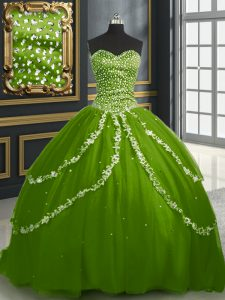 Pretty Beading and Appliques Sweet 16 Dress Olive Green Lace Up Sleeveless With Brush Train