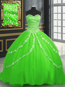 High Quality With Train Lace Up Vestidos de Quinceanera for Military Ball and Sweet 16 and Quinceanera with Beading and Appliques Brush Train