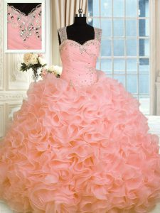 Sleeveless Organza Floor Length Zipper Ball Gown Prom Dress in Watermelon Red with Beading and Ruffles