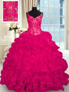 Sexy Hot Pink Sweet 16 Dress Organza Brush Train Sleeveless Beading and Embroidery and Ruffles
