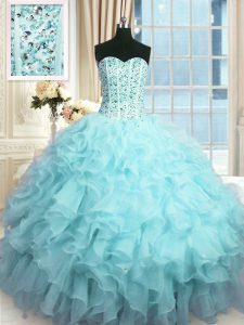 Suitable Baby Blue Sweetheart Lace Up Beading and Ruffles and Sequins Quinceanera Gown Sleeveless