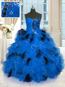 Blue 15th Birthday Dress Military Ball and Sweet 16 and Quinceanera with Beading and Ruffles Strapless Sleeveless Lace Up