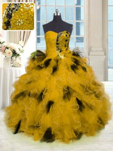 Top Selling Floor Length Gold 15th Birthday Dress Strapless Sleeveless Lace Up