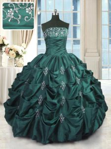 Trendy Strapless Sleeveless Taffeta 15 Quinceanera Dress Beading and Appliques and Embroidery and Pick Ups Lace Up