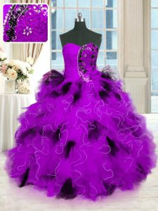 Deluxe Tulle Strapless Sleeveless Lace Up Beading and Ruffles Sweet 16 Dresses in Multi-color