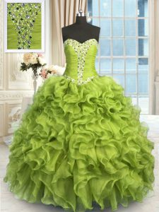 Yellow Green Sleeveless Floor Length Beading and Ruffles Lace Up Quinceanera Gowns