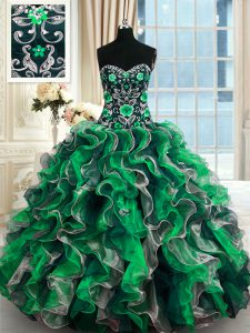 Glittering Sleeveless Floor Length Beading and Ruffles Lace Up Ball Gown Prom Dress with Multi-color
