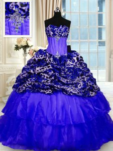 Customized Printed Royal Blue Sweet 16 Quinceanera Dress Military Ball and Sweet 16 and Quinceanera with Beading and Ruffled Layers and Sequins Sweetheart Sleeveless Sweep Train Lace Up
