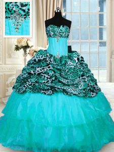 Attractive Printed Aqua Blue Sweet 16 Quinceanera Dress Military Ball and Sweet 16 and Quinceanera with Beading and Ruffled Layers Strapless Sleeveless Sweep Train Lace Up