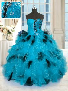 Latest Floor Length Lace Up Sweet 16 Dress Blue And Black for Military Ball and Sweet 16 and Quinceanera with Beading and Ruffles